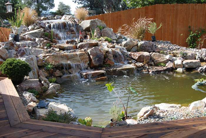 Pond and waterfall construction landscape design for Garden pond design and construction
